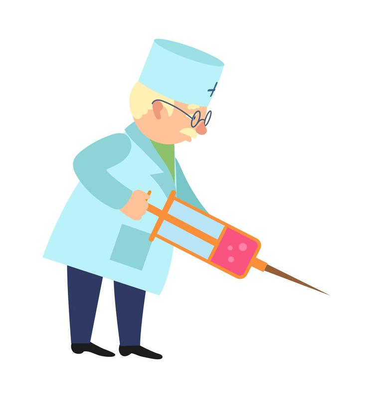 Doctor Holding Syringe clipart
