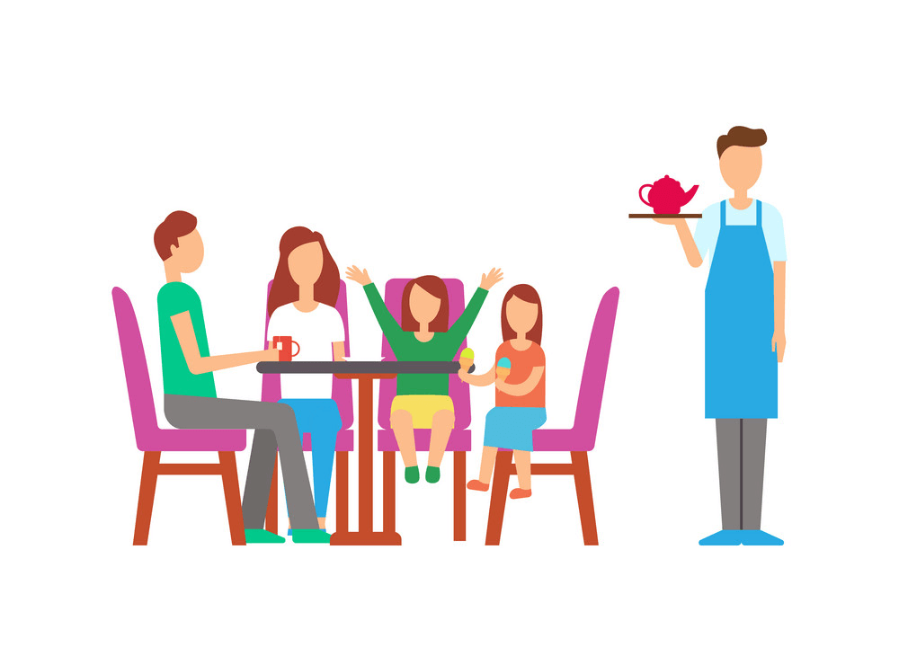 Family in Restaurant clipart
