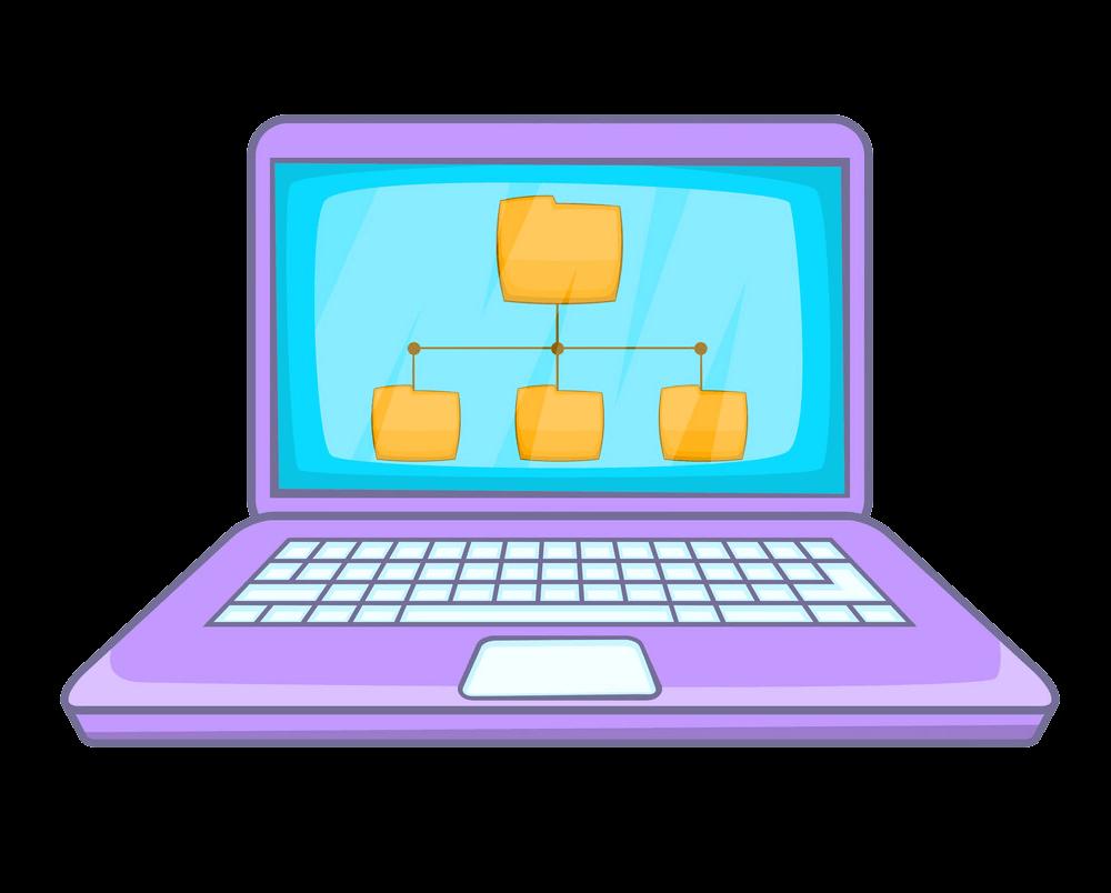Folders on Laptop clipart transparent