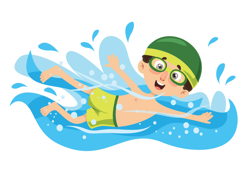 Funny Boy Swimming clipart