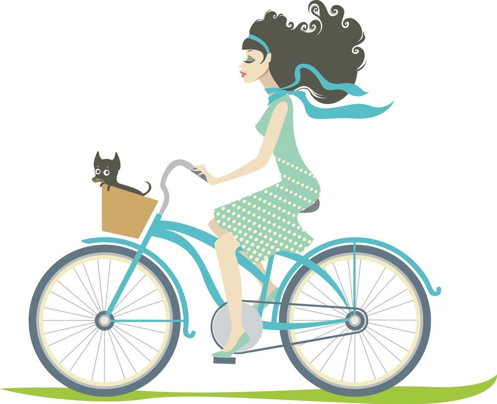 Girl Riding Bike clipart