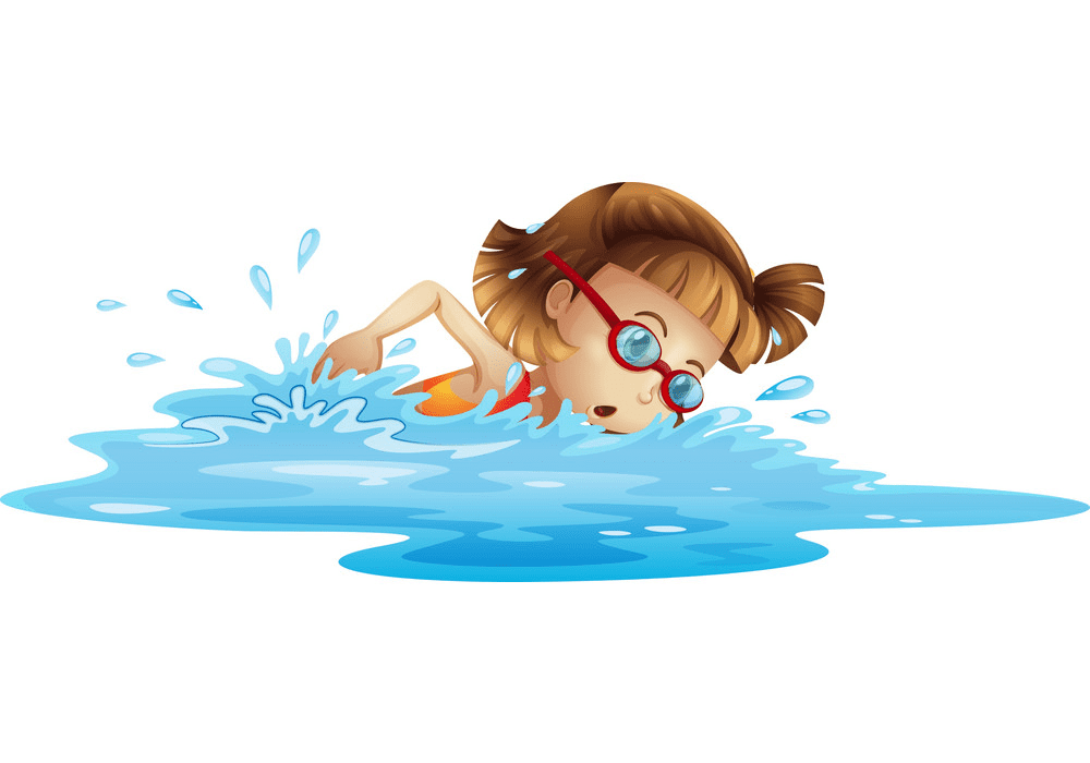 Girl Swimming clipart image