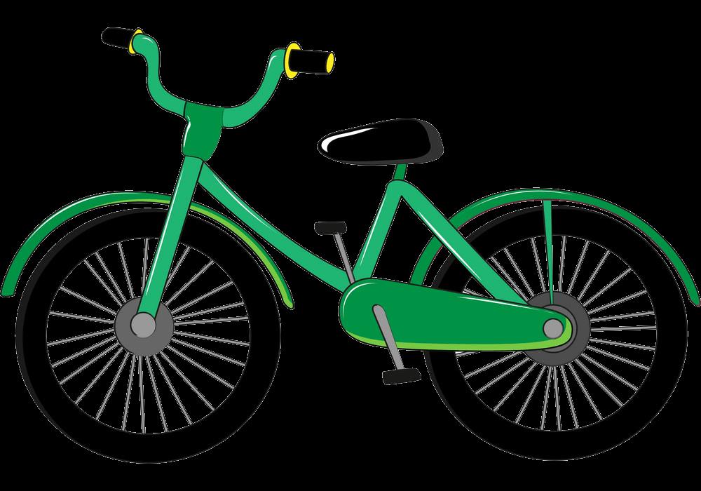 Green Bike clipart transparent 1