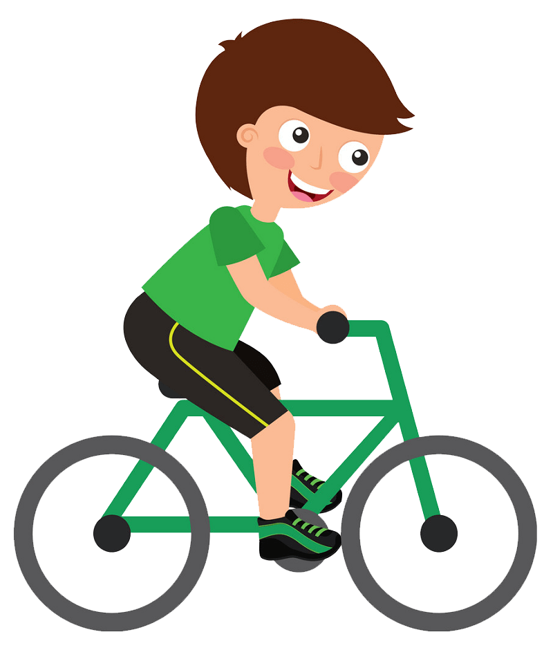 Happy Boy Riding Bike clipart transparent