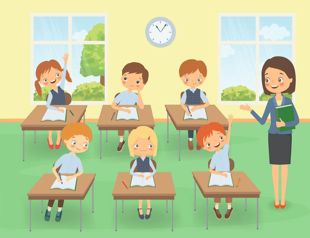 Happy Students in Classroom clipart