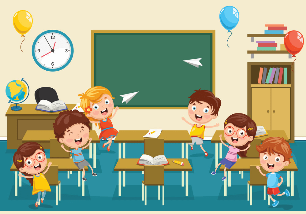 Having Fun in Classroom clipart