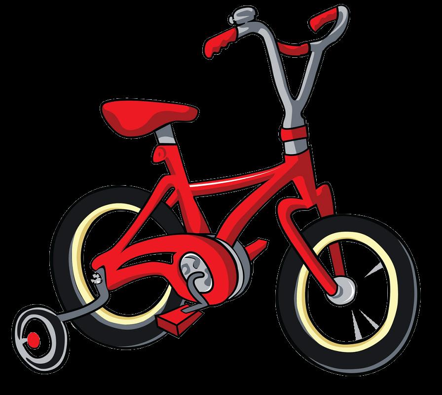 Kid Red Bike clipart transparent