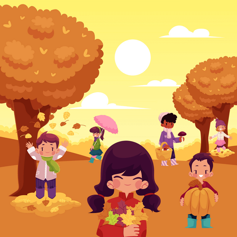 Kids with Autumn clipart 1