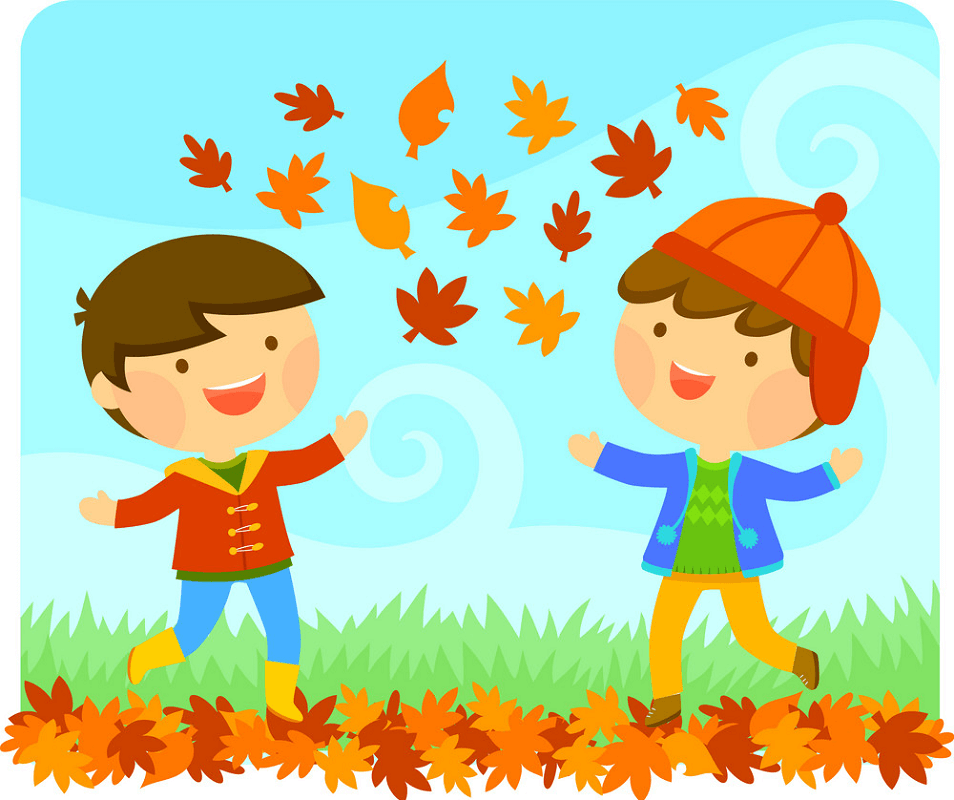 Kids with Autumn clipart