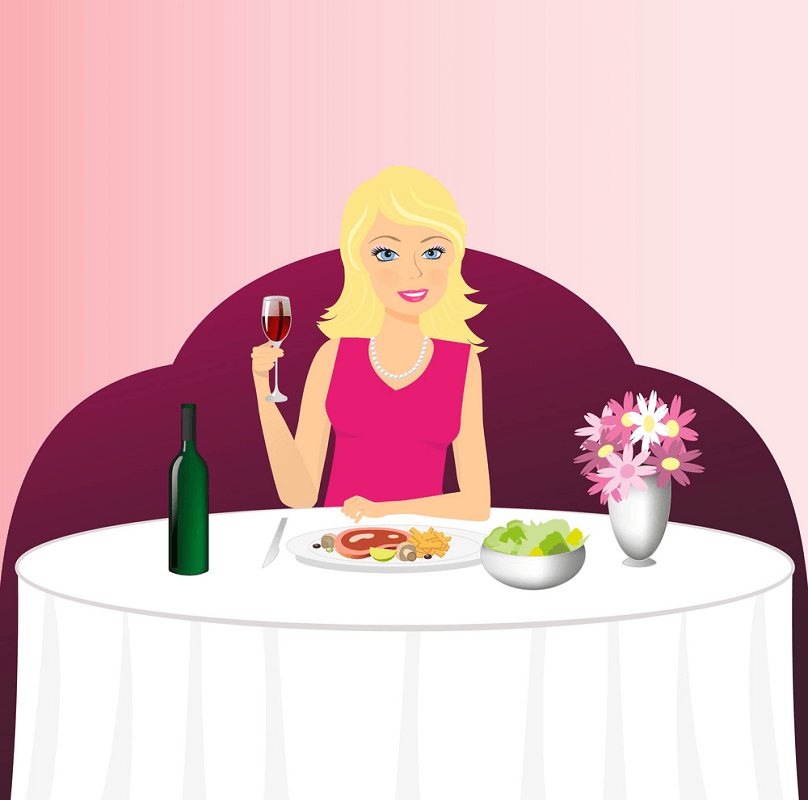 Lady in Restaurant clipart