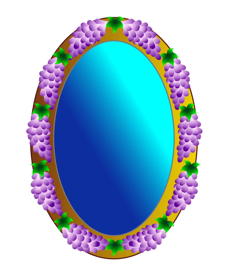Mirror with Grapes clipart transparent