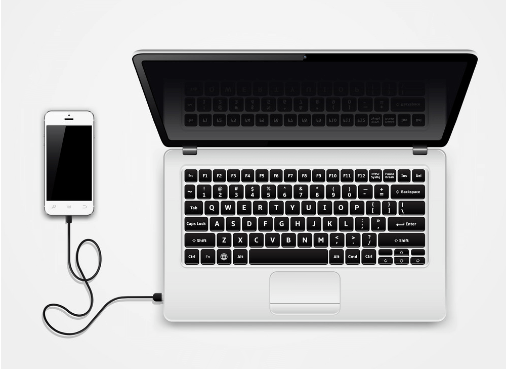 Mobile Phone with Laptop clipart