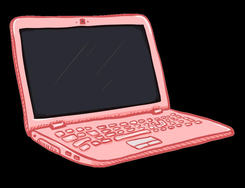 Pink Laptop clipart transparent 1