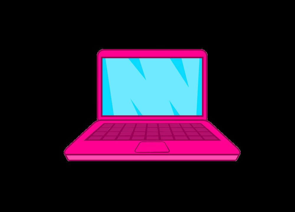 Pink Laptop clipart transparent