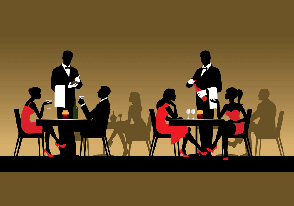 Silhouettes People in Restaurant clipart