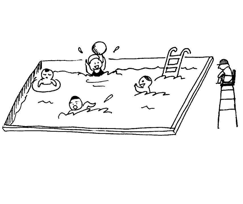 Swimming Clipart Black and White 2