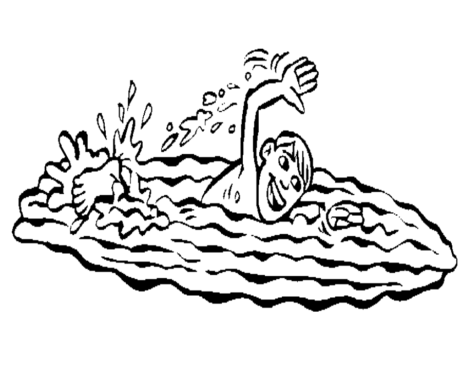 Swimming Clipart Black and White 3