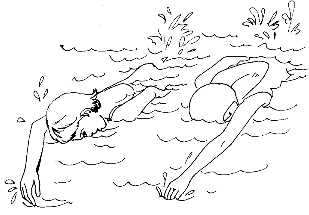 Swimming Clipart Black and White 6