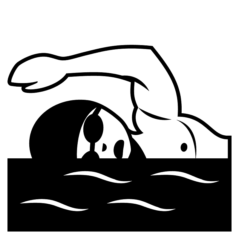 Swimming Clipart Black and White 7