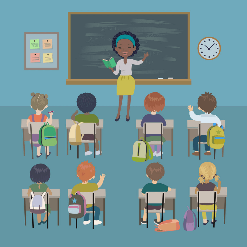 Teacher is Teaching in Classroom clipart