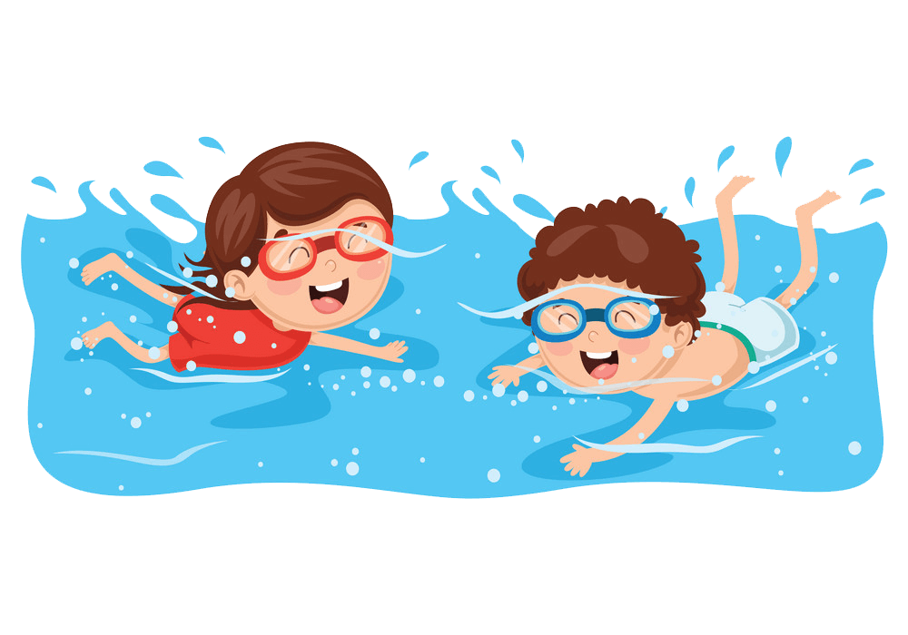 Two Kids Swimming clipart transparent