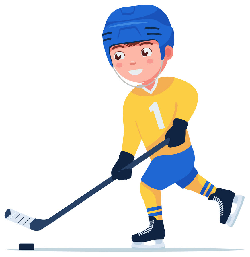 A Boy Playing Hockey clipart