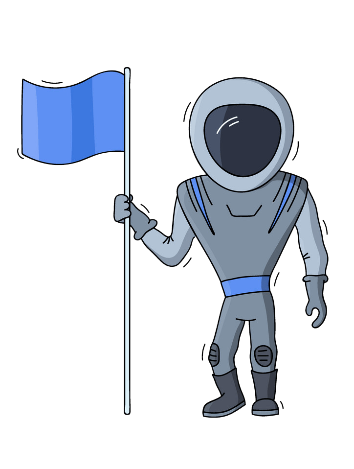 Astronaut with Flag clipart transparent
