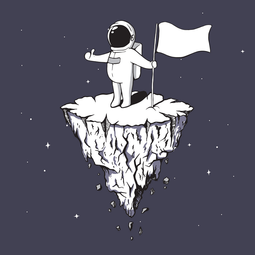 Astronaut with Flag clipart