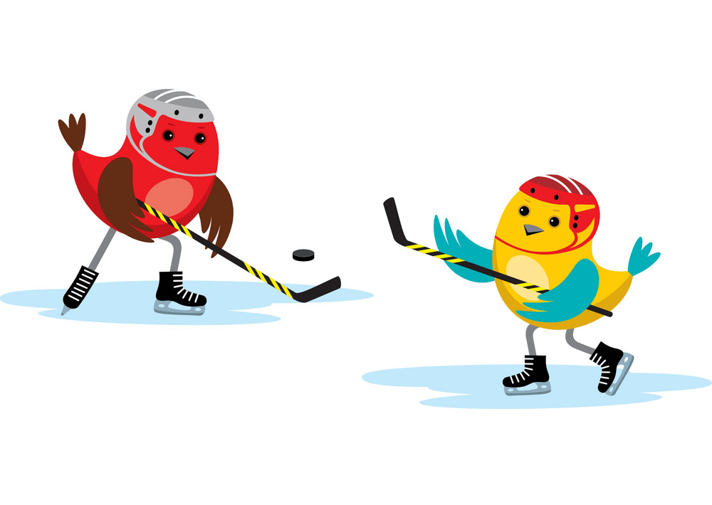 Birds Playing Hockey clipart