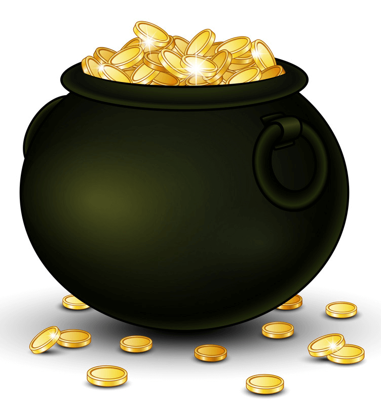 Black Pot of Gold clipart