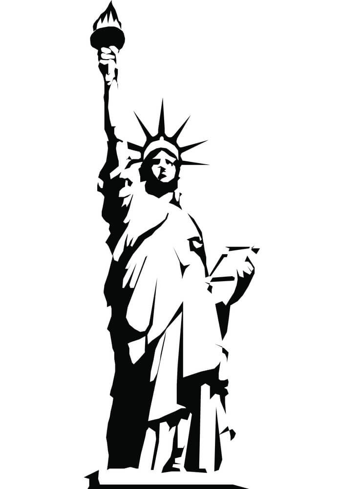 Black Silhouette Statue of Liberty clipart