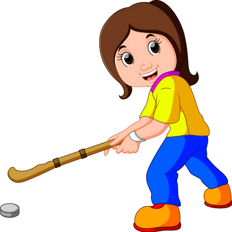 Girl Playing Hockey clipart