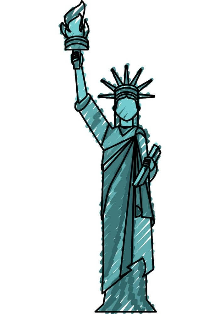 Hand Drawn Statue of Liberty clipart