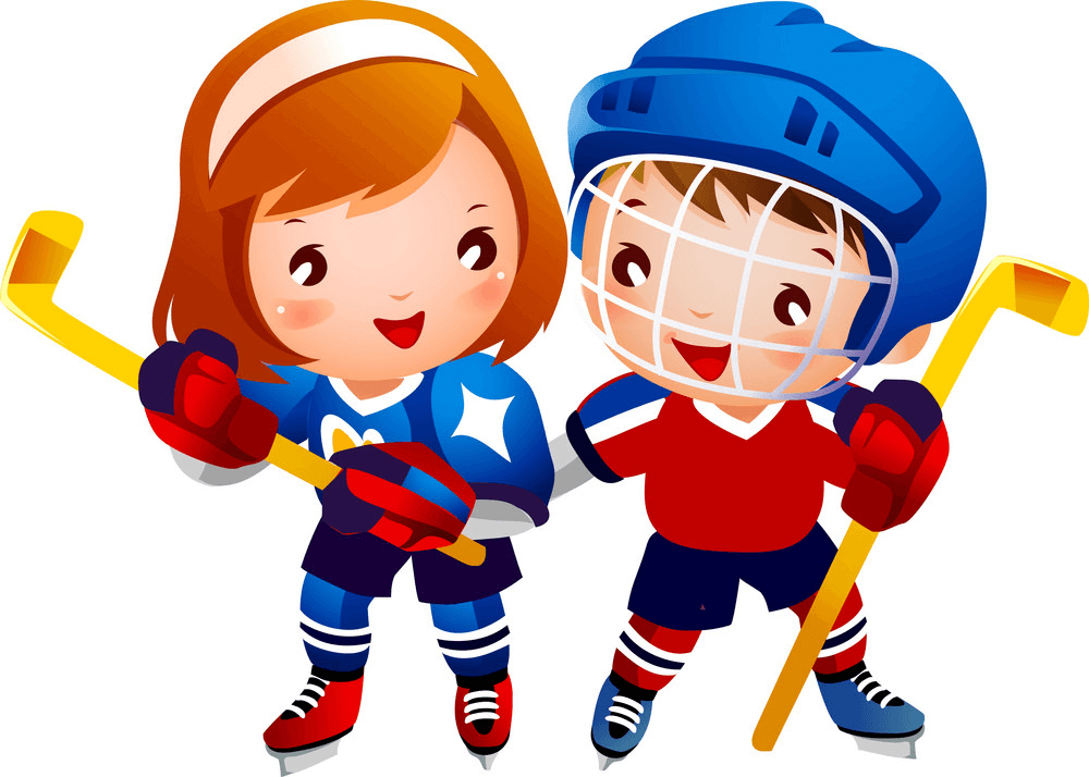 Kids Playing Hockey clipart