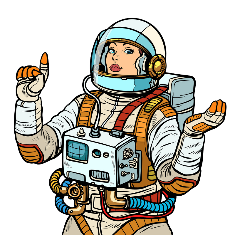 Lady Astronaut clipart transparent