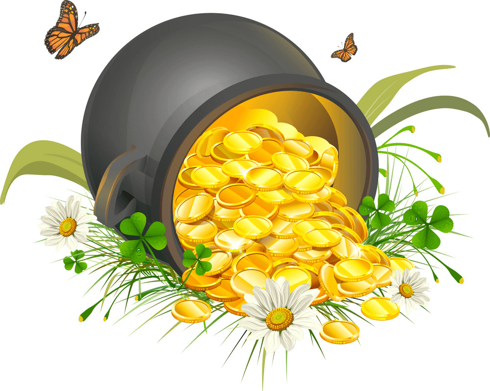Overturned Pot of Gold clipart
