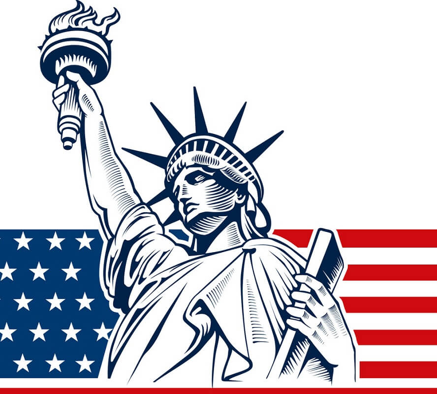 USA Flag with Statue of Liberty clipart