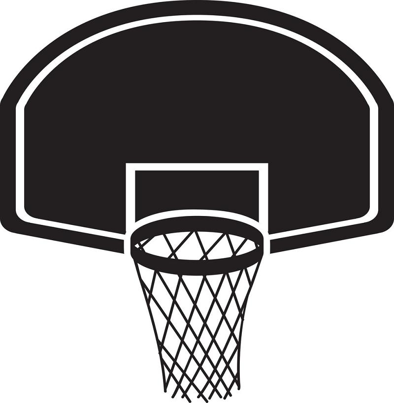 Black Icon Basketball Hoop clipart