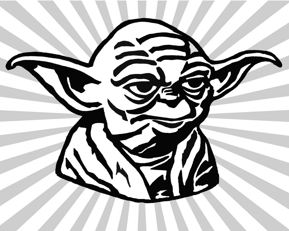 Cute Yoda Clipart black and white 1