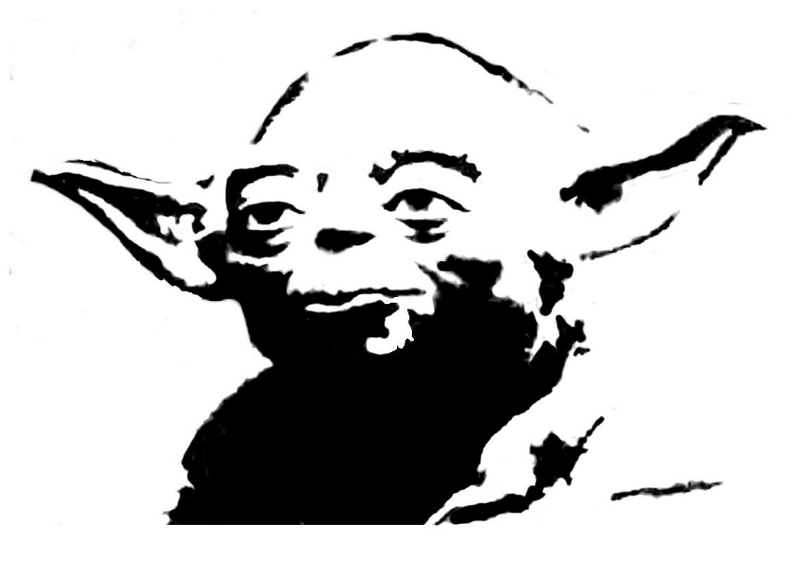Cute Yoda Clipart black and white 2
