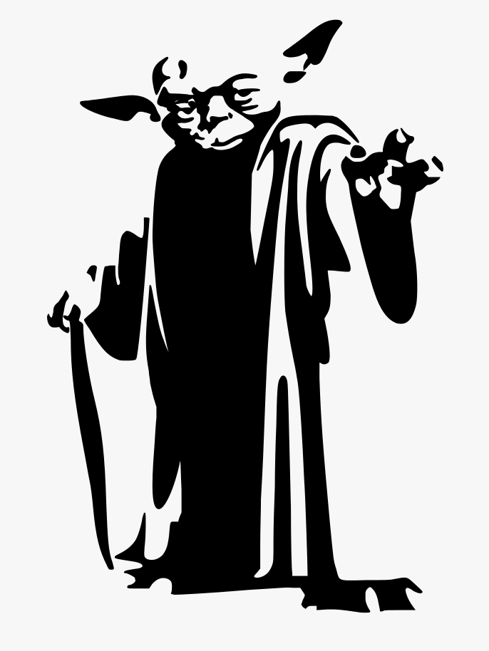 Cute Yoda Clipart black and white 3