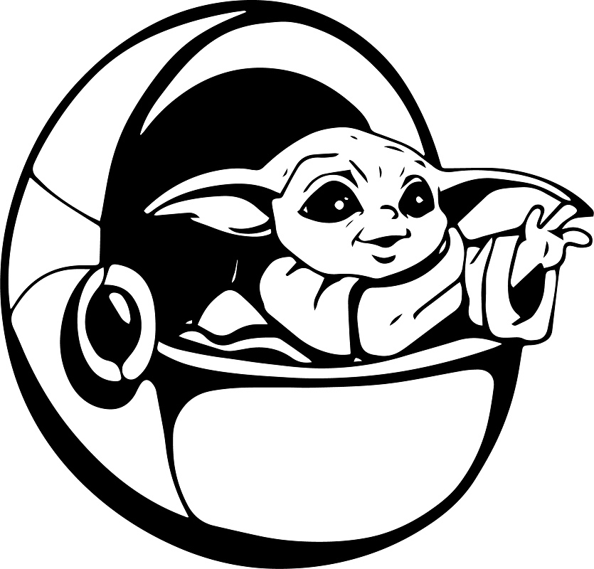Cute Yoda Clipart black and white 4