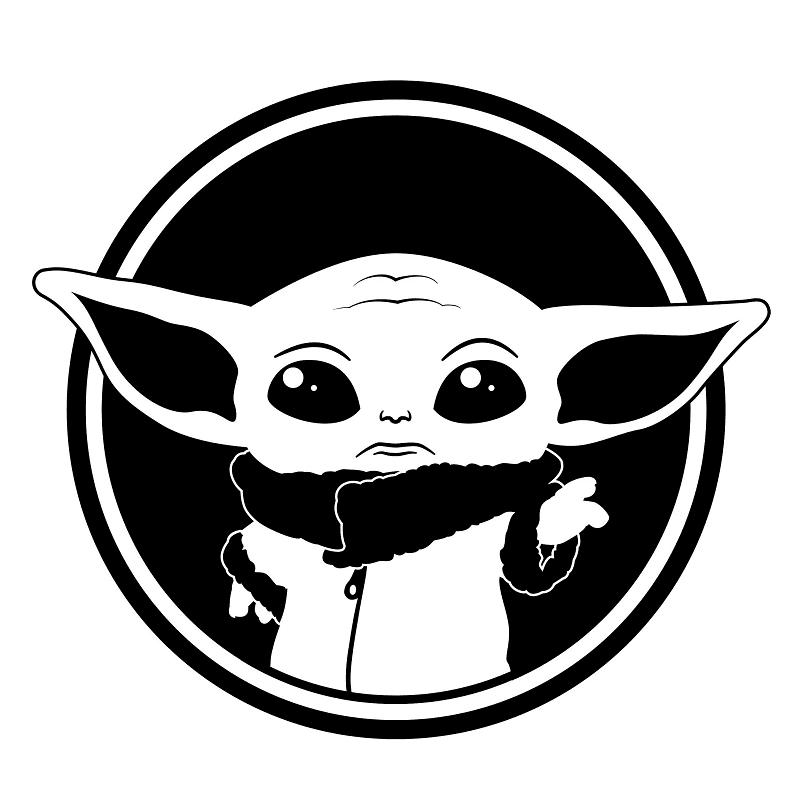 Cute Yoda Clipart black and white 5