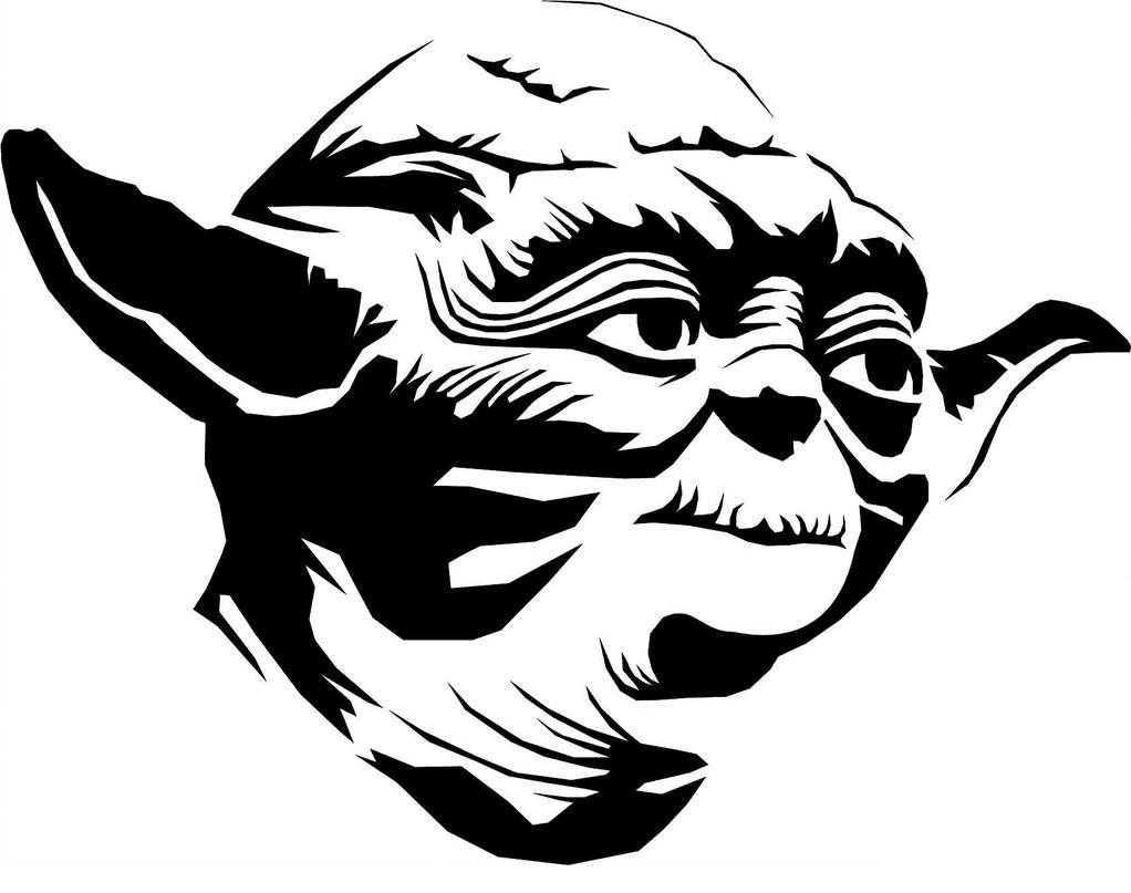 Cute Yoda Clipart black and white 6