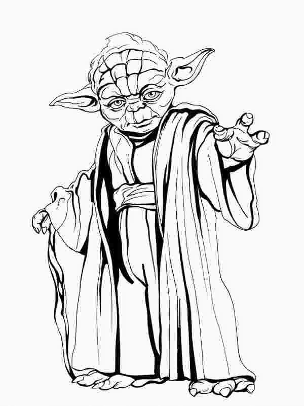 Cute Yoda Clipart black and white