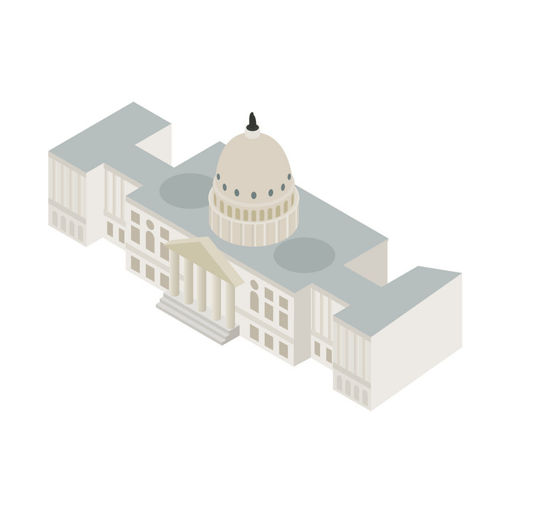 Icon Isometric White House clipart