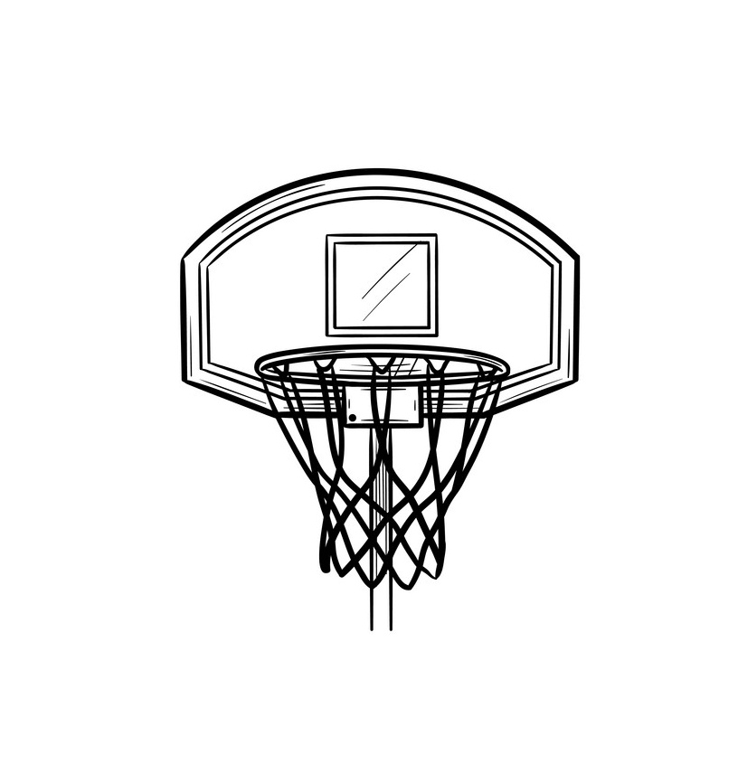 Outline Basketball Hoop clipart