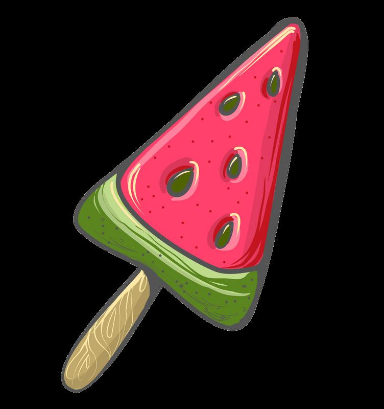 Watermelon Popsicle clipart transparent