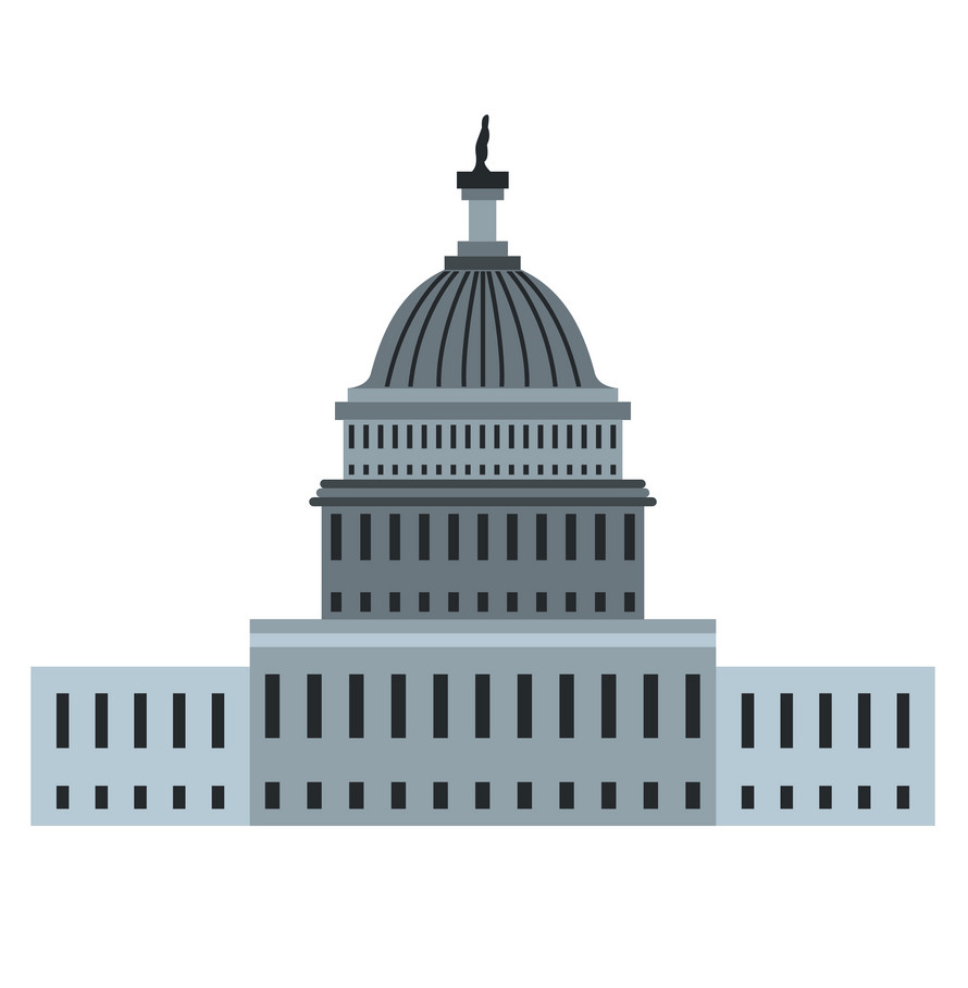 White House in Washington DC clipart