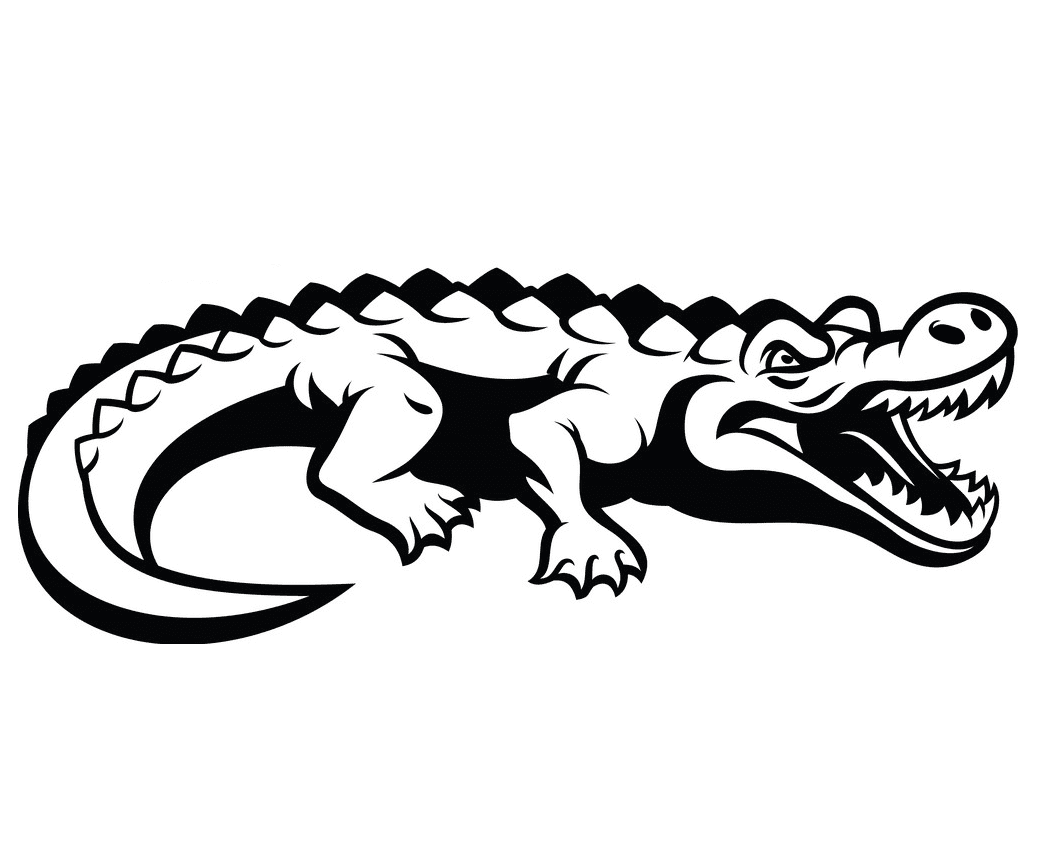 Alligator Clipart Black and White 3
